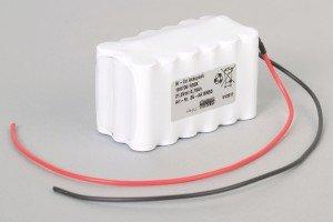 Ni-Cd Akkupack 18N700 R3SK 21,6V / 700mAh (0,7Ah) für Türsteuerungen 3-reihig im Schrumpfschlauch mit Kabel