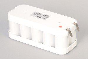 Ni-Cd Akkupack 10VRED R2HsL 12V / 5000mAh (5Ah) für RWA Rauchwärmeabzugsanlagen 2-reihig im Schrumpfschlauch mit Lötfahnen und Halbschalen