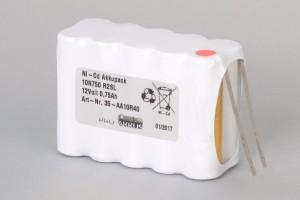 Ni-Cd Akkupack 10N750 R2SL 12V / 750mAh (0,75Ah) für RWA Rauchwärmeabzugsanlagen 2-reihig im Schrumpfschlauch mit Lötfahnen