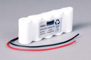 Ni-Cd Akkupack Notlicht Notbeleuchtung 6,0V / 1500mAh (1,5Ah) F5x1 Reihe mit Kabel