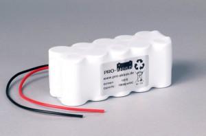 Ni-Cd Akkupack Notlicht Notbeleuchtung 12V / 1800mAh (1,8Ah) F5x2 Reihe mit Kabel