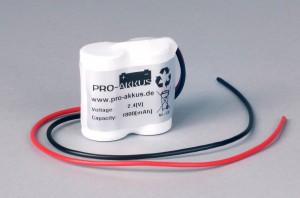 Ni-Cd Akkupack Notlicht Notbeleuchtung 2,4V / 1800mAh (1,8Ah) F2x1 Reihe mit Kabel