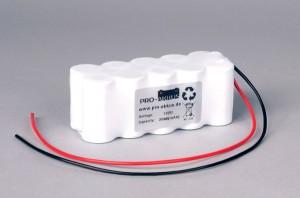 Ni-Cd Akkupack Notlicht Notbeleuchtung 12V / 2000mAh (2,0Ah) F5x2 Reihe mit Kabel