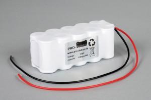 Ni-Cd Akkupack Notlicht Notbeleuchtung 12V / 1700mAh (1,7Ah) F5x2 Reihe mit Kabel