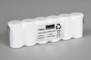 Ni-Cd Akkupack Notlicht Notbeleuchtung 7,2V / 1700mAh (1,7Ah) F6x1 Reihe, Faston Anschlüsse