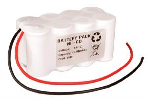 Ni-Cd Akkupack Notlicht Notbeleuchtung 9,6V / 1500mAh (1,5Ah) F4x2 Reihe mit Kabel