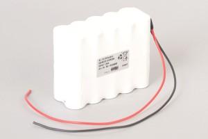 Ni-Cd Akkupack 20VRECS S10R2SK 24V / 1600mAh (1,6Ah) für RWA Rauchwärmeabzugsanlagen 10 Säulen in 2 Reihen im Schrumpfschlauch mit Kabel