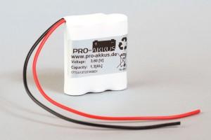 Ni-Mh Akkupack Notlicht Notbeleuchtung 3,6V / 1250mAh (1,25Ah) F3x1 Reihe mit Kabel