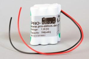 Ni-Mh Akkupack Notlicht Notbeleuchtung 7,2V / 600mAh (0,6Ah) 3er Reihe + 3er Reihe versetzt / Parallelogramm mit Kabel
