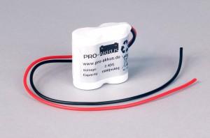 Ni-Cd Akkupack Notlicht Notbeleuchtung 2,4V / 1500mAh (1,5Ah) F2x1 Reihe mit Kabel