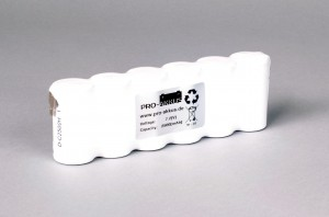 Ni-Cd Akkupack Notlicht Notbeleuchtung 7,2V / 2500Ah (2,5Ah) F6x1 Reihe, Faston Anschlüsse