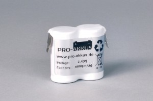 Ni-Cd Akkupack Notlicht Notbeleuchtung 2,4V / 1800mAh (1,8Ah) F2x1 Reihe, Faston Anschlüsse