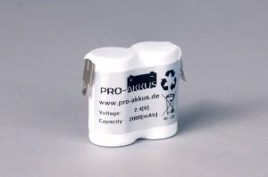 Ni-Cd Akkupack Notlicht Notbeleuchtung 2,4V / 2000mAh (2,0Ah) F2x1 Reihe, Faston Anschlüsse