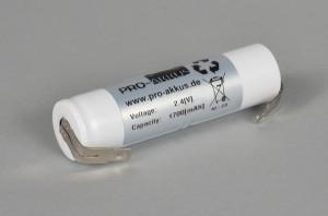 Ni-Cd Akkupack Notlicht Notbeleuchtung 2,4V / 1700mAh (1,7Ah) L2x1 Stab, Faston Anschlüsse