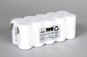 Ni-Cd Akkupack Notlicht Notbeleuchtung 12V / 2500mAh (2,5Ah) F5x2 Reihe, Faston Anschlüsse