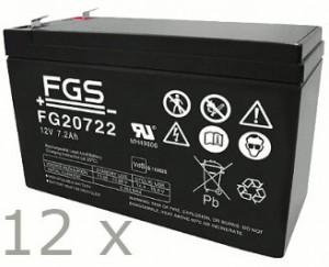 Akkusatz für AdPoS Micro-S 5000 Pro USV - 12 x FGS 12V 7,2Ah Akkus mit VdS Nummer