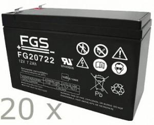 Akkusatz für Aiptek PowerWalker VFI 6000 LE Plus USV - 20 x FGS 12V 7,2Ah Akku mit VdS Nummer