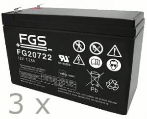 Akkusatz für AdPoS Mini 1000 USV - 3 x FGS 12V 7,2Ah Akkus mit VdS Nummer