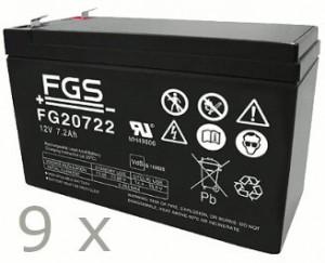 Akkusatz für Benning MT-Compact 3kVA USV - 9 x FGS 12V 7,2Ah Akkus mit VdS Nummer