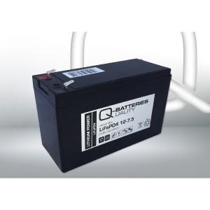 Q-Batteries 12-7.5 LiFePo4 Lithium-Eisenphosphat Akku - 12,8V 7,5Ah