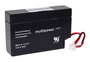 Multipower MP0,8-12 12V 0,8Ah Blei-Akku / AGM Batterie mit JST-Stecker