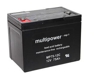 Ersatzbatterien für Premiomobil Rubin Elektromobil - 2x 12V 75Ah AGM Akku zyklenfest wartungsfrei