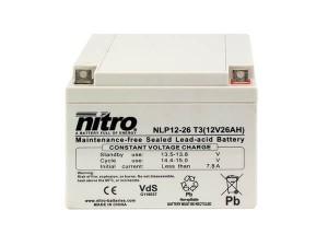 nitro NLP12-26 T3 Batterie / Akku - 12V 26Ah AGM VdS
