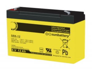 SUN Battery SB6-12 - 6V 12Ah Bleiakku