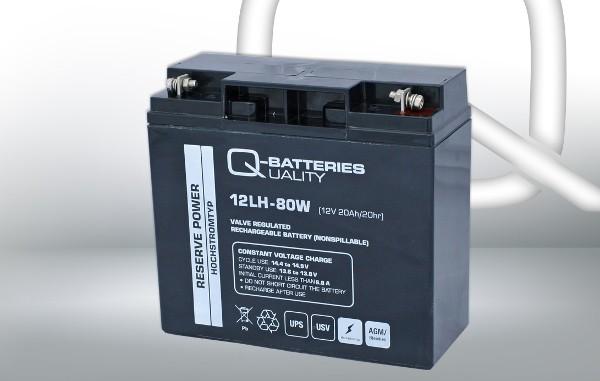 Q-Batteries 12LH-80W 12V 80W AGM Batterie Akku Hochstrom