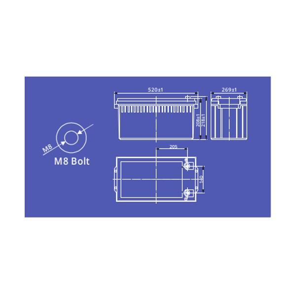 pbq LF100-24 LiFePO4 Batterie - 25,6V 100Ah Lithium-Ferrophosphat-Akku
