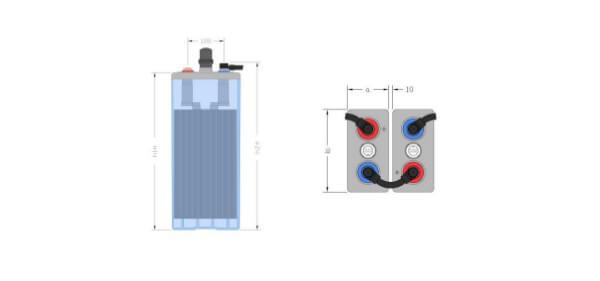 Inbatt OPzS-Zelle 5 OPzS 350 - 2V 396Ah (C10) Batterie