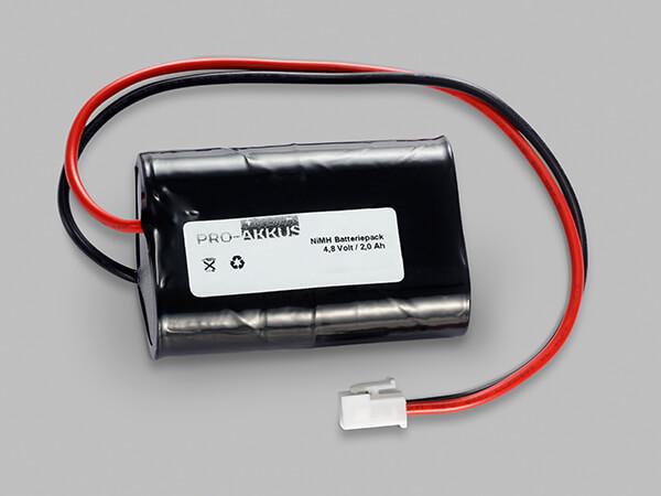 NiMh Notbeleuchtung Akku 4,8V / 2000mAh 4/5 SC L2x2 mit Kabel und Stecker