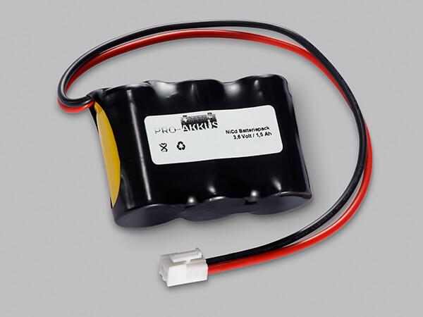 NiCd Notbeleuchtung Akku 3,6V / 1500mAh SC Reihe mit Kabel und Stecker