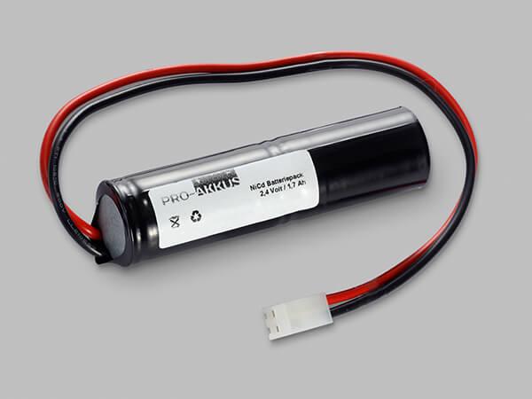 NiCd Notbeleuchtung Akku 2,4V / 1700mAh SC Stab mit Kabel und Stecker
