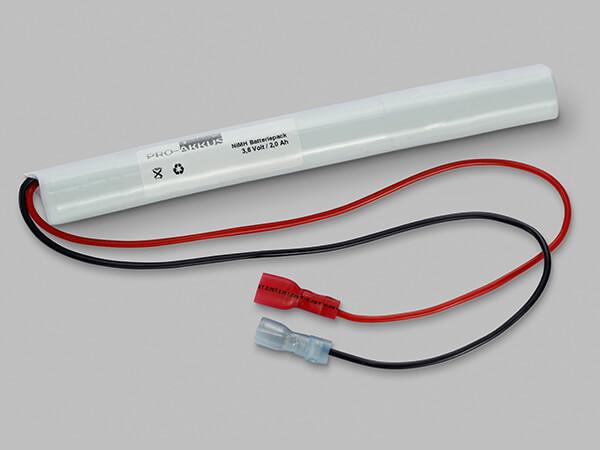 NiMh Notbeleuchtung Akku 3,6V / 2000mAh AA HT Stab mit Kabel und vollisolierten Fastonbuchsen