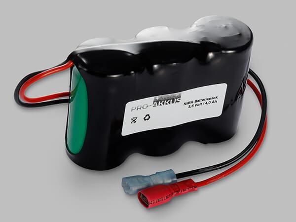 NiMh Notbeleuchtung Akku 3,6V / 4000mAh C HT Reihe mit Kabel und vollisolierten Fastonbuchsen