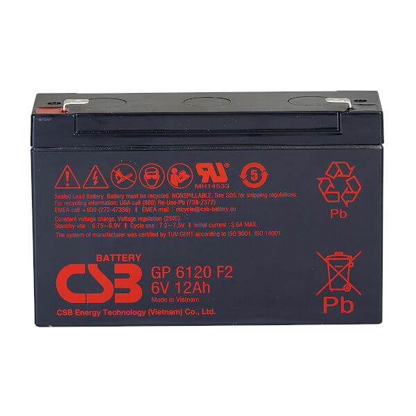 CSB GP6120F2 - 6V / 12Ah AGM Akku / Batterie