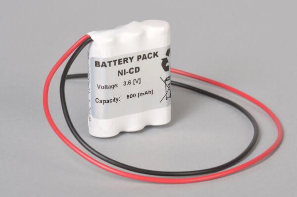 Ni-Cd Akkupack Notbeleuchtung 3,6V / 800mAh (0,8Ah) AA F3x1 Reihe mit Kabel