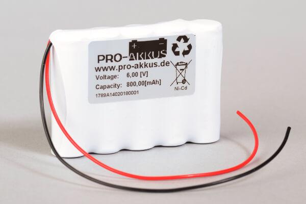 Ni-Cd Akkupack Notlicht Notbeleuchtung 6V / 800mAh (0,8Ah) F5x1 Reihe mit Kabel