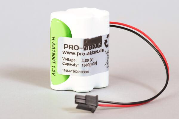 Ni-Mh Akkupack Notlicht Notbeleuchtung 4,8V / 1600mAh (1,6Ah) F2+F2 Block mit Kabel und Molex Stecker passend für INOTEC 890014