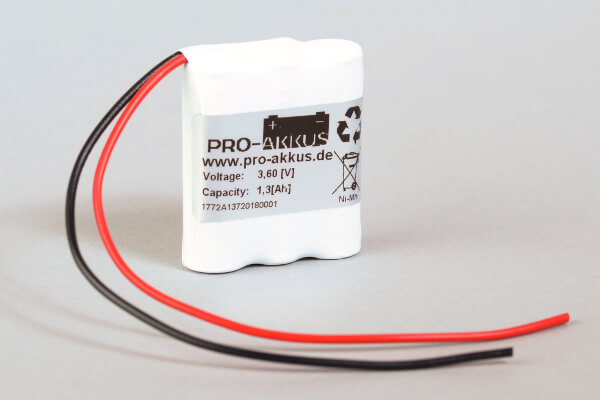 Ni-Mh Akkupack Notlicht Notbeleuchtung 3,6V / 1300mAh (1,3Ah) F3x1 Reihe mit Kabel