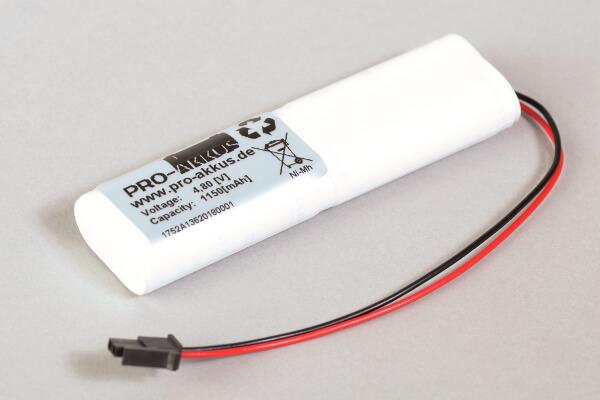 Ni-Mh Akkupack Notlicht Notbeleuchtung 4,8V / 1150mAh (1,15Ah) L2+L2 Stab mit Kabel und Molex Stecker passend für INOTEC 890021