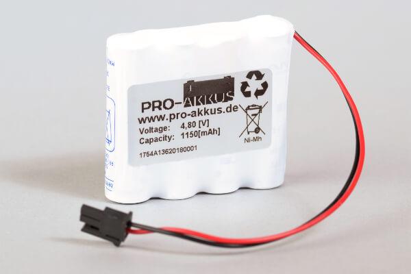 Ni-Mh Akkupack Notlicht Notbeleuchtung 4,8V / 1150mAh (1,15Ah) F4x1 Reihe mit Kabel und Molex Stecker passend für INOTEC 890015