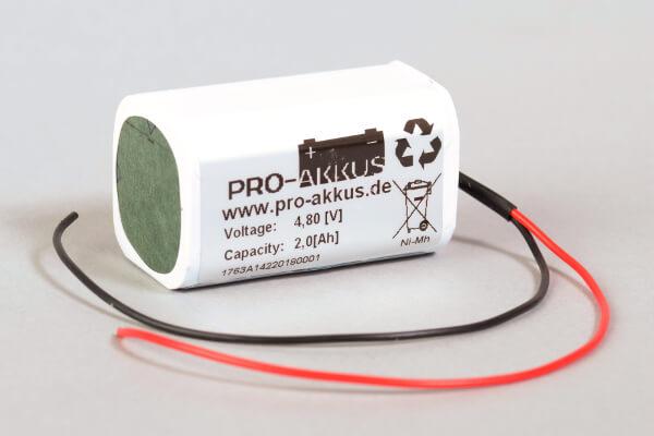 Ni-Mh Akkupack Notlicht Notbeleuchtung 4,8V / 2000mAh (2Ah) F2x2 Würfel mit Kabel