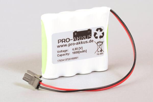 Ni-Mh Akkupack Notlicht Notbeleuchtung 4,8V / 1600mAh (1,6Ah) F4x1 Reihe mit Kabel und Molex Stecker passend für INOTEC 890015
