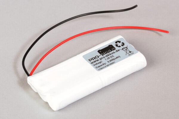Ni-Cd Akkupack Notlicht Notbeleuchtung 7,2V / 800mAh (0,8Ah) 3x 2er Stab mit Kabel