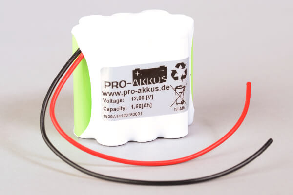 Ni-Mh Akkupack Notlicht Notbeleuchtung 12V / 1600mAh (1,6Ah) 3er Reihe + 4er Reihe + 3er Reihe mit Kabel