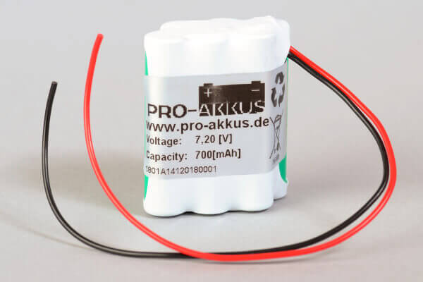 Ni-Mh Akkupack Notlicht Notbeleuchtung 7,2V / 700mAh (0,7Ah) F3x2 Raute mit Kabel