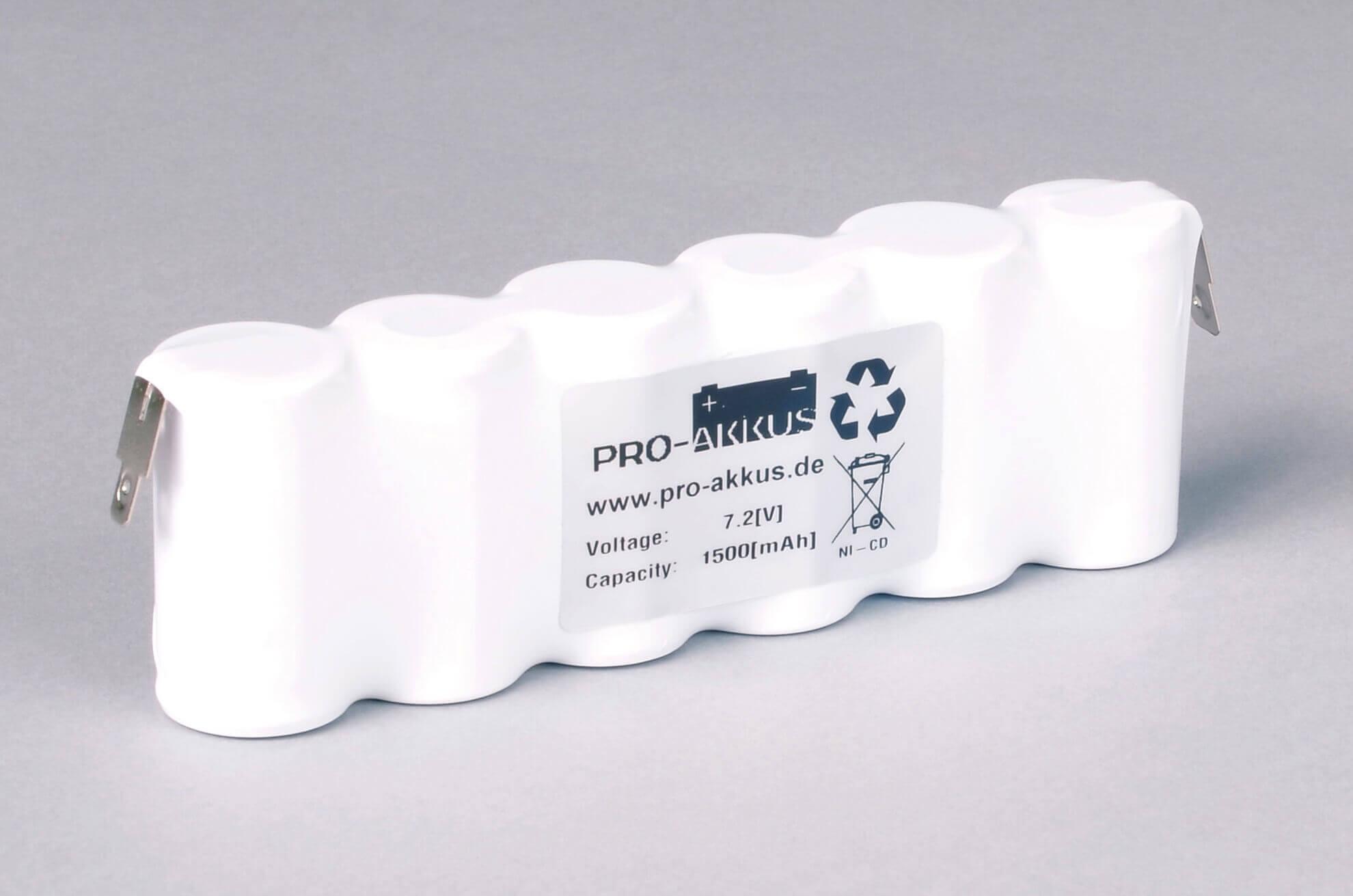 Ni-Cd Akkupack Notlicht Notbeleuchtung 7,2V / 1500mAh (1,5Ah) F6x1 Reihe, Faston Anschlüsse
