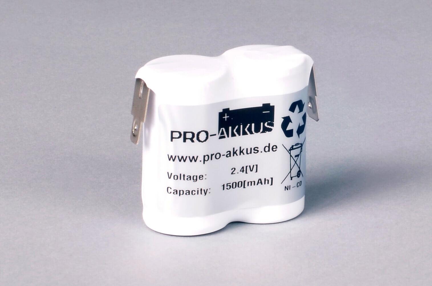 Ni-Cd Akkupack Notlicht Notbeleuchtung 2,4V / 1500mAh (1,5Ah) F2x1 Reihe, Faston Anschlüsse